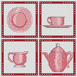 Kitchen, dishes.  4 cross stitch patterns, free.